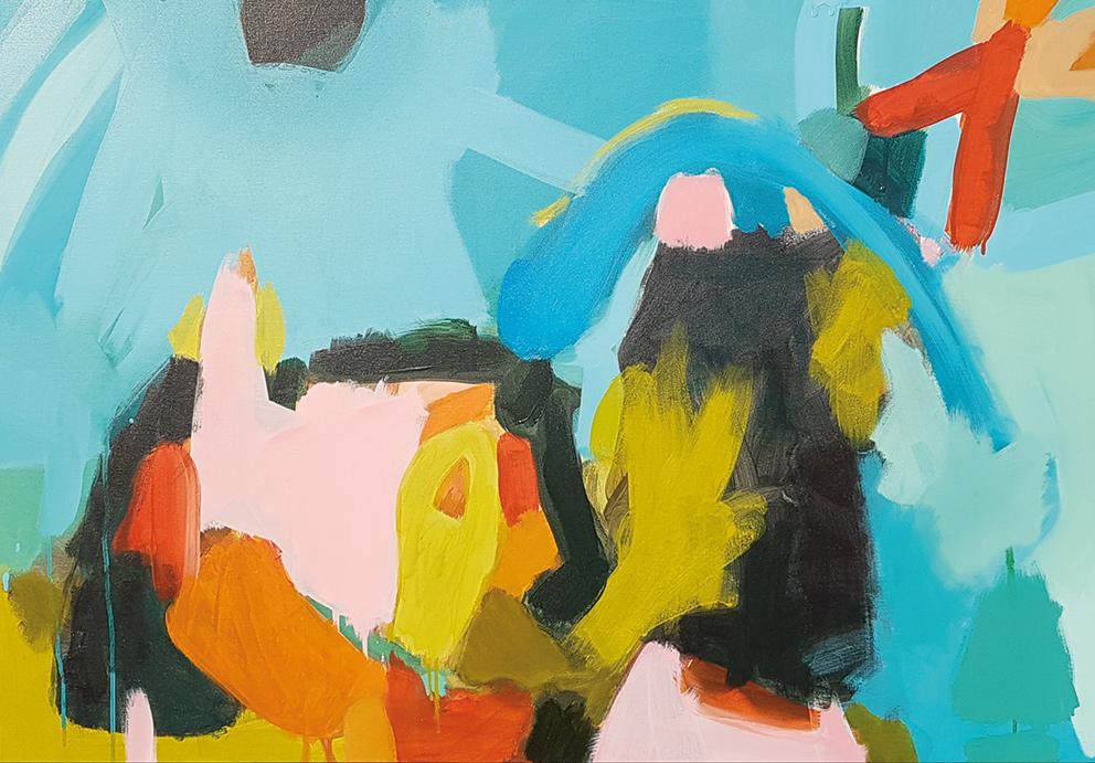 Ich habe keine Antworten - nur Fragen und Farben. Acryl auf Leinwand. 70 x 100 cm. 10/2018. Anna Dianda